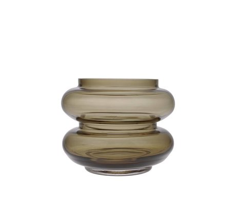 HK-living Jarrón ahumado en vidrio marrón S Ø13,5x10,5cm