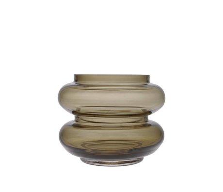 HK-living Vase røget brunt glas S Ø13,5x10,5cm