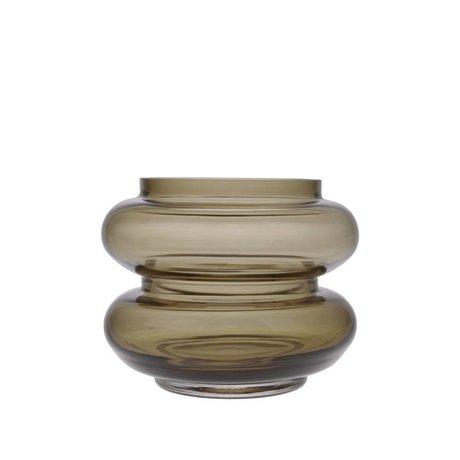 HK-living Vase en verre brun fumé S Ø13,5x10,5cm