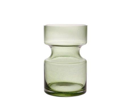 HK-living Jarrón verde vidrio M Ø11x17cm