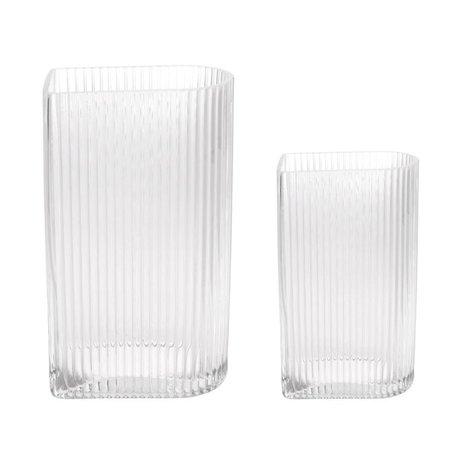 HK-living Vaas Ribbed Transparent Glas Set Van 2
