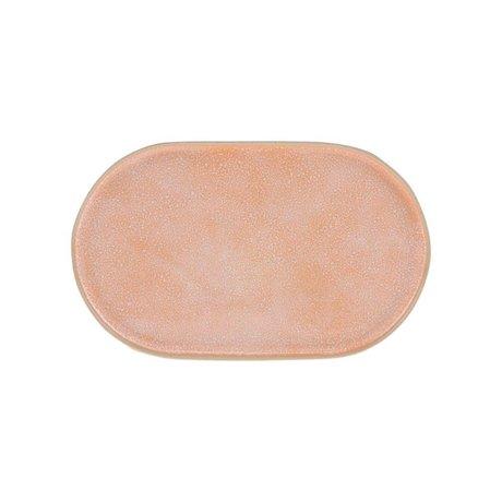 HK-living Morgenmad plade Galleri fersken orange keramik 23,5x14,5x1cm