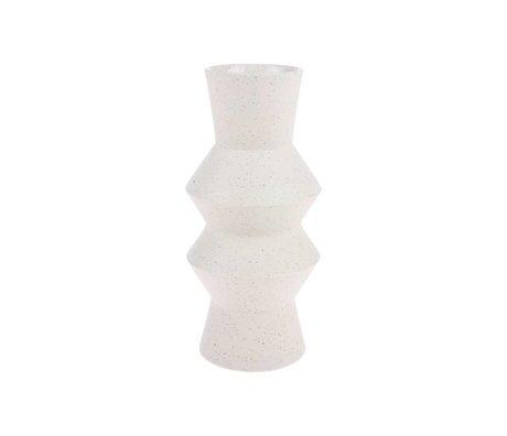 HK-living Vaas crème angulaire mouchetée avec Keramiek M Ø13,5x29,5cm