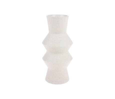 HK-living Vaas Speckled Vinkelcreme med Keramiek M Ø13,5x29,5cm