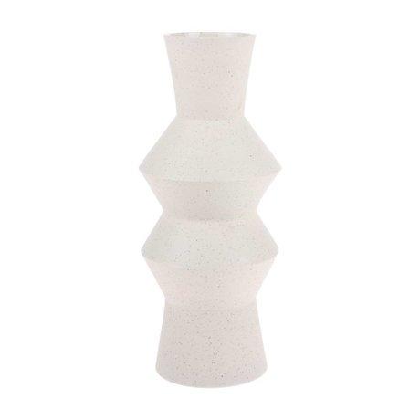 HK-living Jarrón manchado Angular crema blanco cerámica L Ø16,5x41cm
