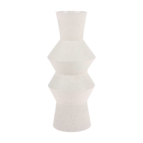 HK-living Vase Speckled Angular creme weiße Keramik L Ø16,5x41cm