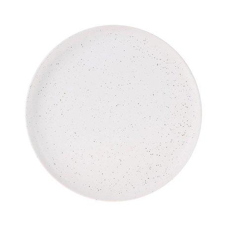 HK-living Morgenmad plade Fed & Basic hvid keramik Ø21,6x2,3cm