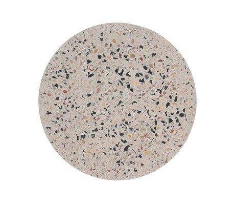 HK-living Vassoio Terrazzo Terrazzo in cemento multicolore L Ø30x1,3cm