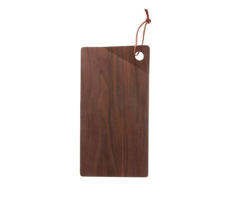 HK-living Bandeja madera nogal marrón 28x15x2,5cm.