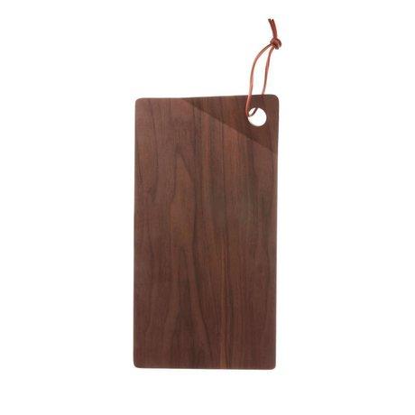 HK-living Vassoio legno noce marrone 28x15x2,5cm