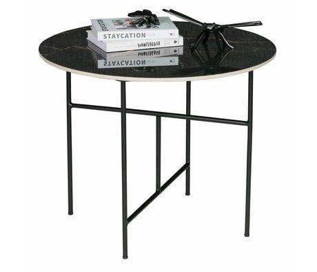 WOOOD Tavolino Vida con piano in marmo nero ø60x48cm