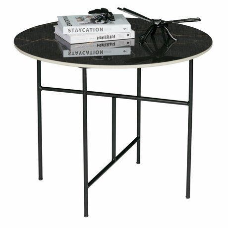 WOOOD Vida coffee table with marble look top black ø60x48cm