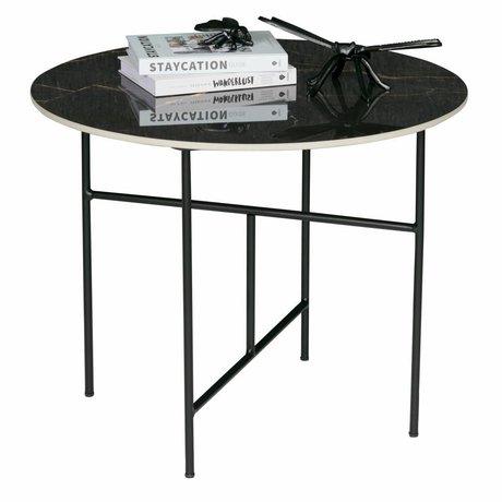 WOOOD Vida sofabord med marmor look top sort ø60x48cm