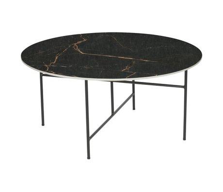 WOOOD Tavolino Vida con piano in marmo nero Ø80x40cm