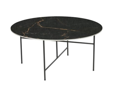 WOOOD Vida coffee table with marble look top black Ø80x40cm