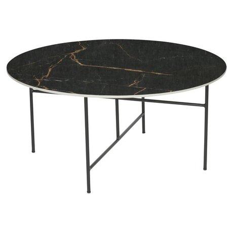 WOOOD Mesa de centro Vida con acabado en mármol top negro Ø80x40cm