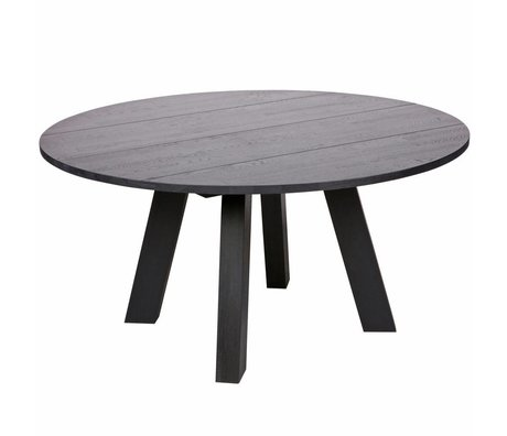 LEF collections Esstisch Rhonda XL blacknight black oak Ø150x75cm