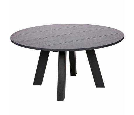 LEF collections Table à manger Rhonda XL blacknight black oak Ø150x75cm