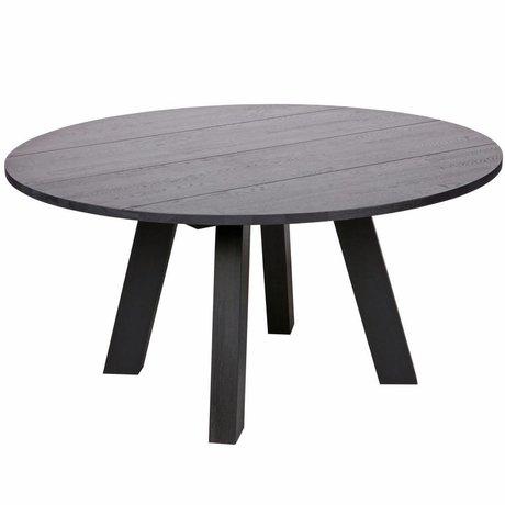 LEF collections Dining table Rhonda XL blacknight black oak Ø150x75cm