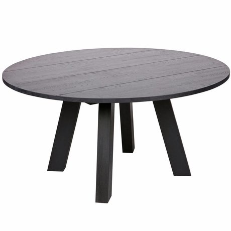 LEF collections Tavolo da pranzo Rhonda XL blacknight black oak Ø150x75cm