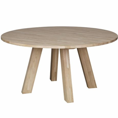 LEF collections Dining table Rhonda XL natural brown oak Ø150x75cm