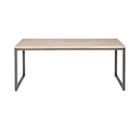 LEF collections Table à manger Olivier en métal brun chêne naturel 90x74,5x180cm