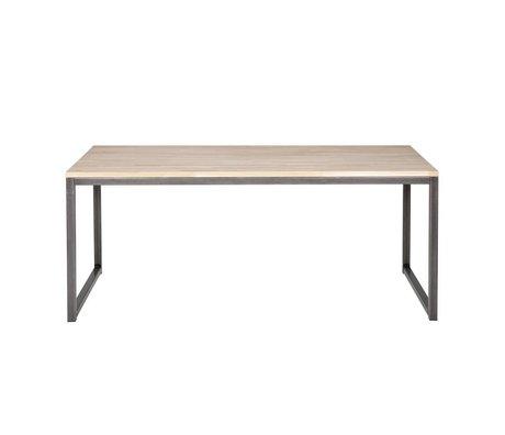 LEF collections Table à manger Olivier en métal brun chêne naturel 90x74,5x150cm