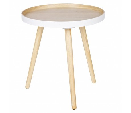 LEF collections Table d'appoint Sasha blanc bois brun naturel 41x40,5x41cm