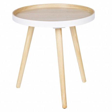 LEF collections Tavolino Sasha bianco naturale marrone legno 41x40,5x41cm