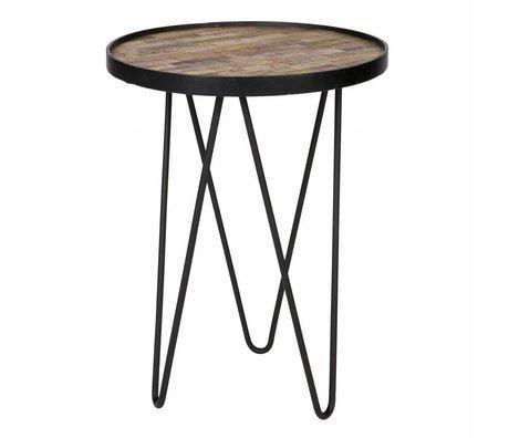 LEF collections Tavolino lev legno marrone metallo ø39x52cm