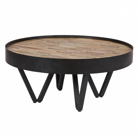 LEF collections Side table Dax brown black wood metal Ø74x34cm