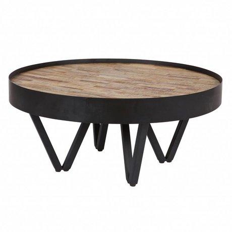 LEF collections Tavolino Dax marrone nero legno metallo Ø74x34cm