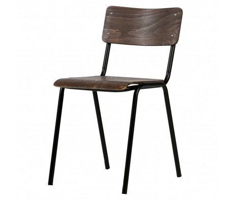 LEF collections Kees chaise d'école bois brun