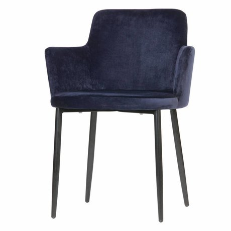 WOOOD Tatum chaise de table en velours bleu