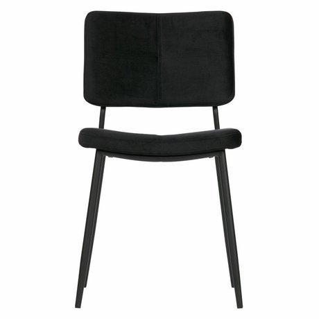WOOOD Lot de 2 - Chaise de salle à manger Kaat en velours noir