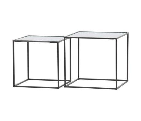 WOOOD Ensemble de table basse en métal / verre noir