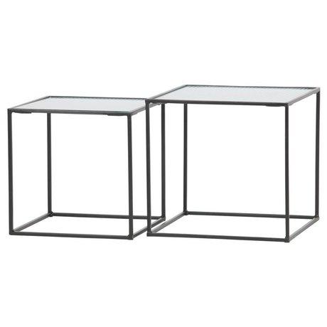 WOOOD Set di 2 - miles tavolino in metallo / vetro nero