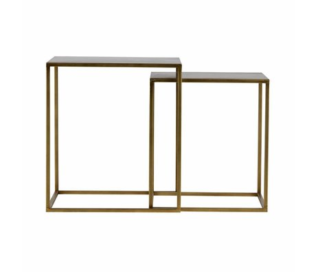 LEF collections Set of 2 - ziva coffee table metal antique brass