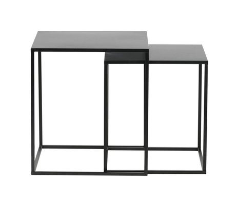LEF collections Set of 2 - ziva coffee table metal black
