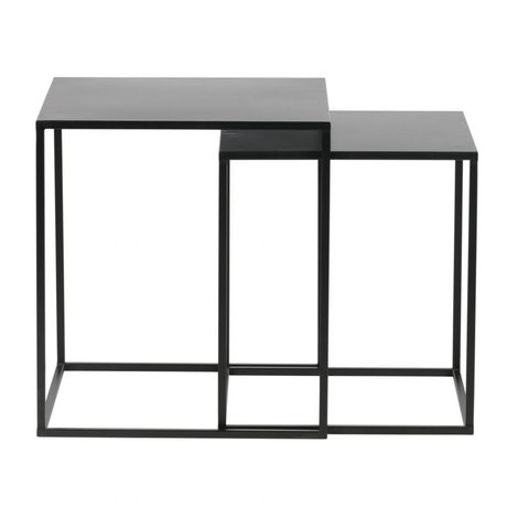 LEF collections Set of 2 - ziva coffee table metal black
