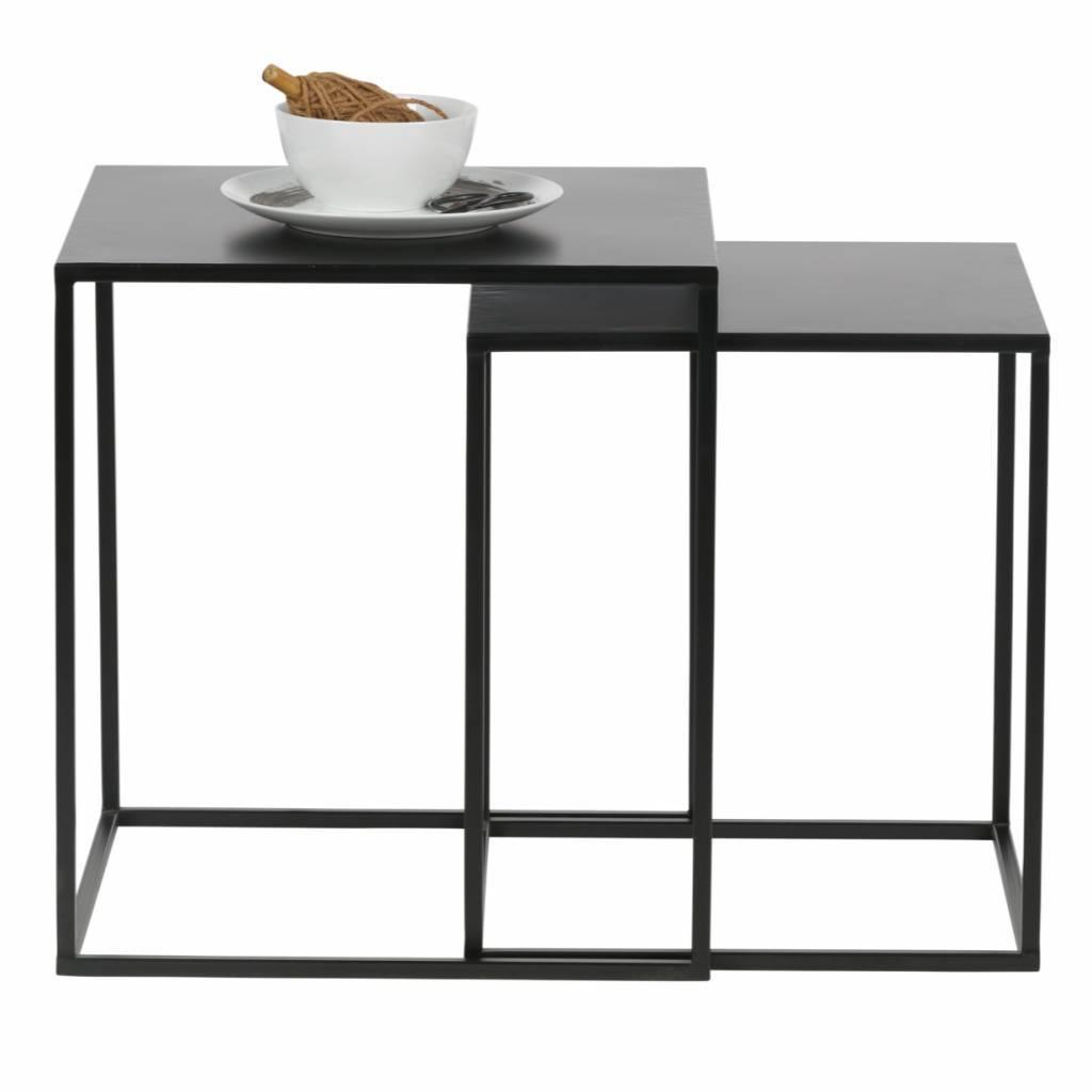 Bijzettafel Ziva Zwart Metaal Set Van 2 45x45x50cm 40x40x45cm