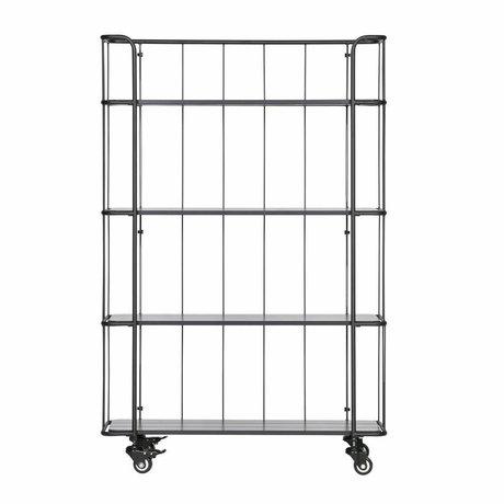 LEF collections Carro de metal caro con estante de madera alto.
