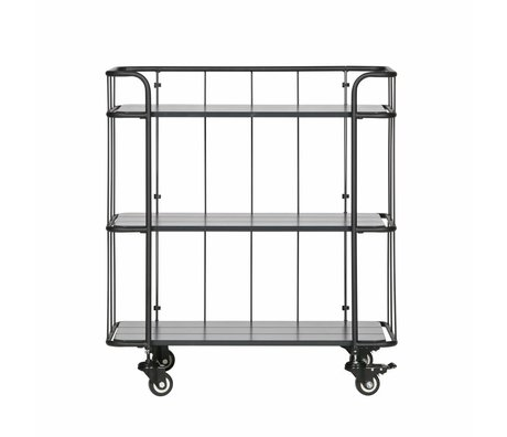 LEF collections Caro metal trolley with wooden shelf deep