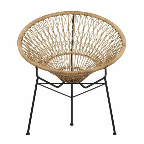 LEF collections Chaise chapeau de paille marron avec cadre noir