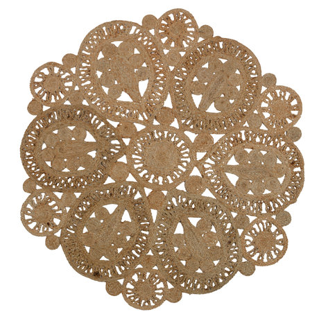 BePureHome Tapis coaster crochet naturel brun 150cm
