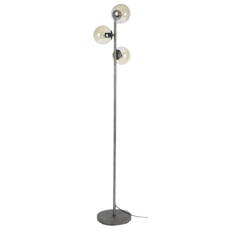 mister FRENKIE Floor lamp Vinnie 3-light old silver glass metal 35x35x170cm