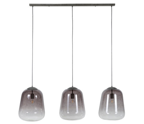 Wonenmetlef Colgante de luz Xavi 3 llamas gris vidrio metal 135x32x150cm