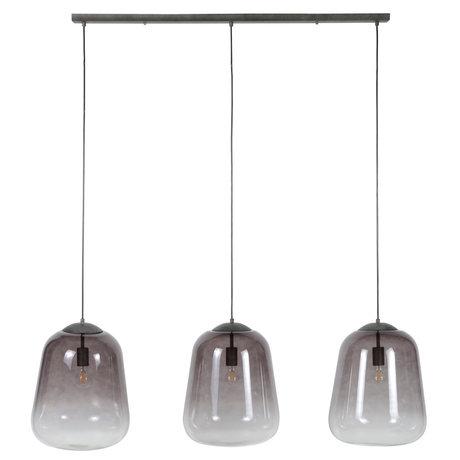 Wonenmetlef Luminaire suspendu Xavi à 3 flammes en verre gris métal 135x32x150cm