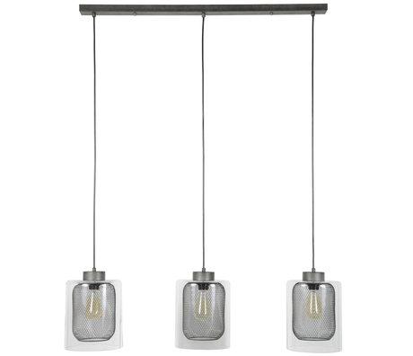 Wonenmetlef Lampada a sospensione Jessie 3-luce vecchio vetro argento metallo 100x20x150cm