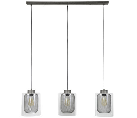 Wonenmetlef Lámpara colgante Jessie de 3 luces, plateado, vidrio, metal, 100x20x150cm.
